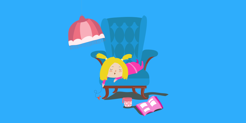 Goldilocks lounging in a big chair