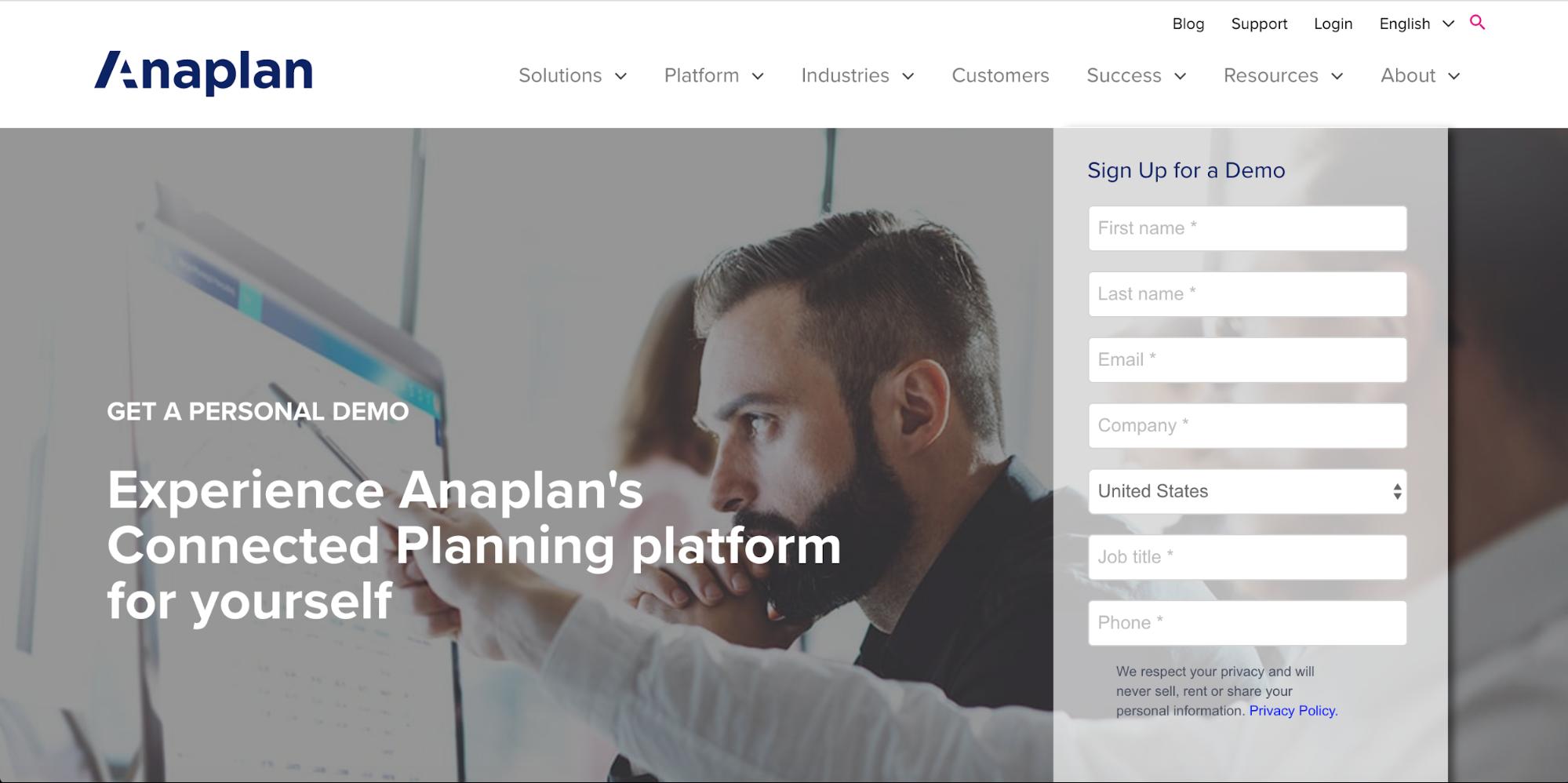 Anaplan Landing Page